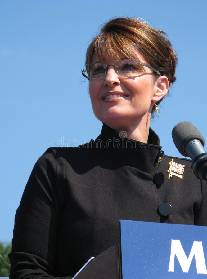 Governor Sarah Palin. Speaking at a Rally in Fairfax, Virginia royalty free stock photography