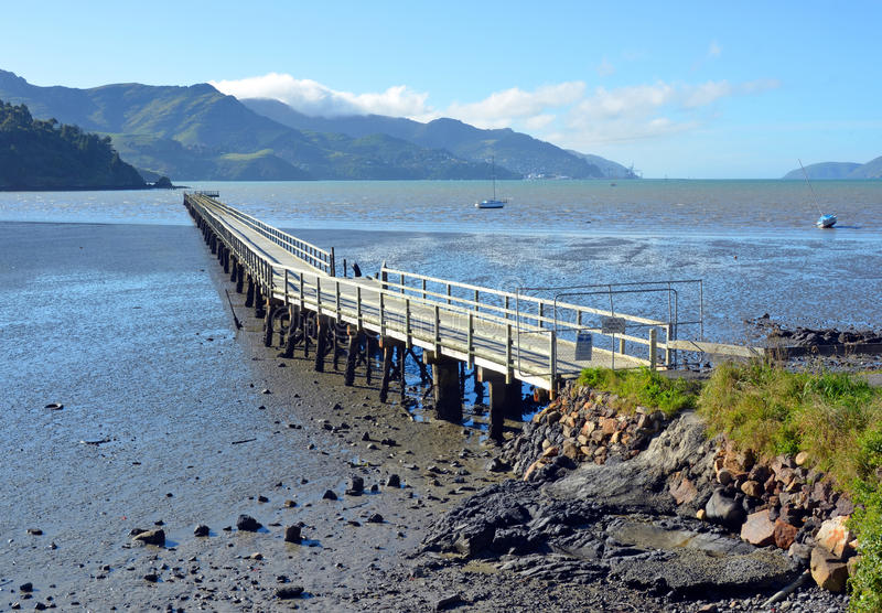 The Governors Bay Jetty at Low Tide stock image