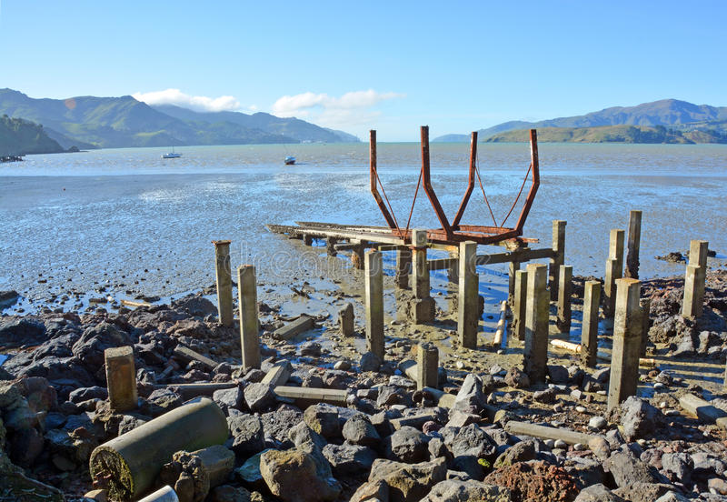 Governors Bay Ships' Graveyard at Low Tide stock photography