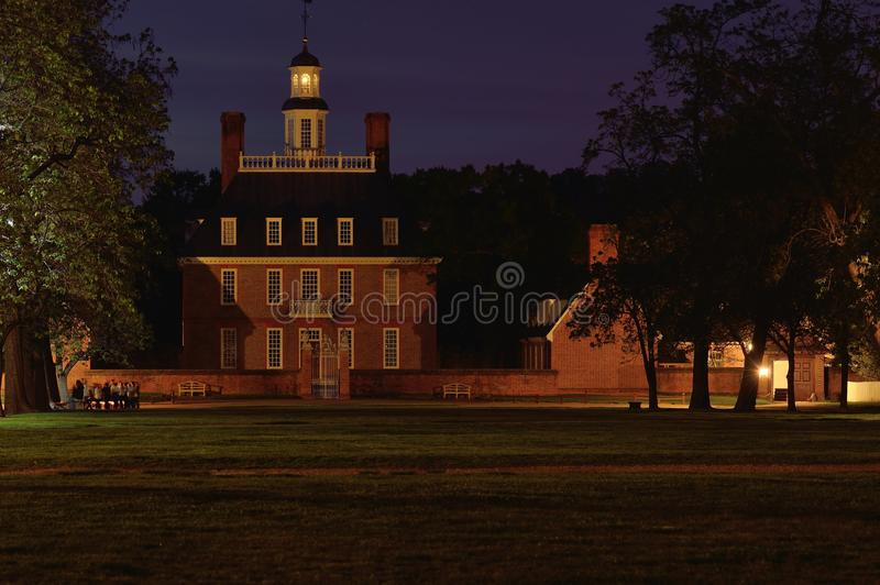 Governors Palace at dusk stock images