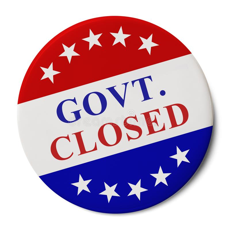 Govt. Closed Campaign Button. Round Pin Button IWith Govt. Closed on it Isolated on White Background royalty free stock photography