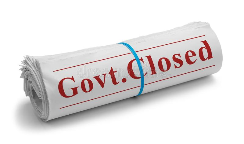 Govt. Closed Rolled Newspaper. Rolled Newspaper with Govt. Closed Headline Isolated on White stock image
