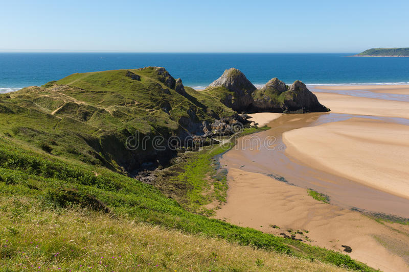 Gower Wales Three Cliffs Bay in de zomerzonneschijn royalty-vrije stock foto's