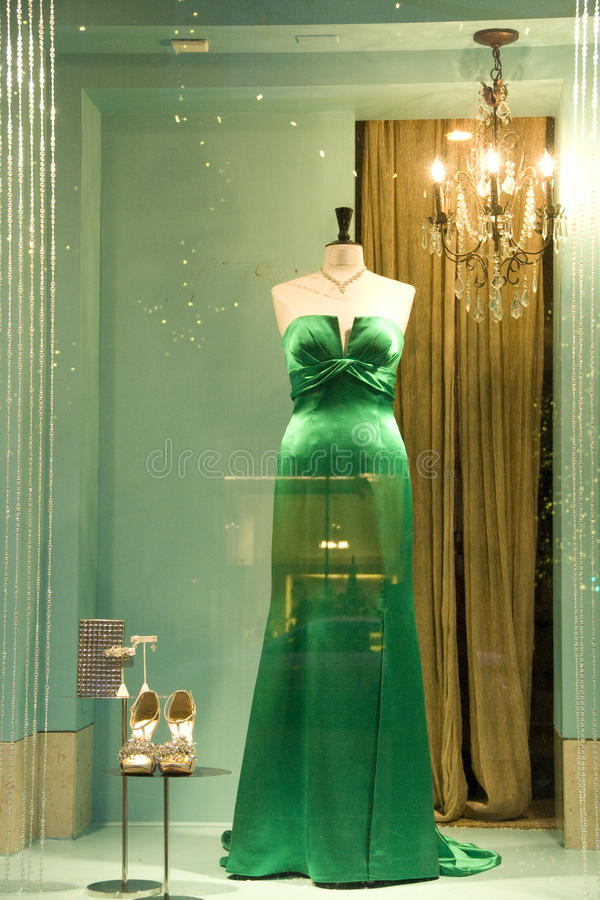 Gown and shoes at fasion store royalty free stock photography