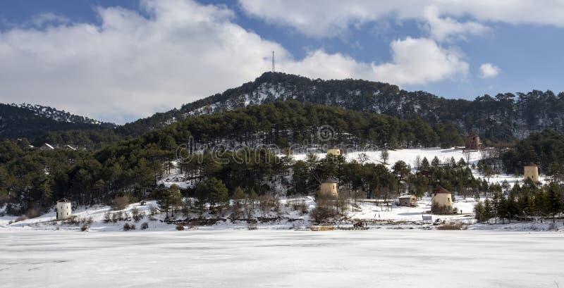 Goynuk / Bolu / Turkey, winter season landscape. Travel concept photo.  royalty free stock photos