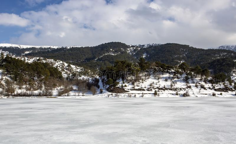Goynuk / Bolu / Turkey, winter season landscape. Travel concept photo.  royalty free stock images