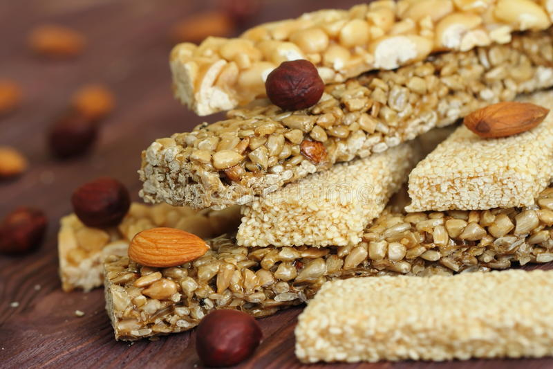 Gozinaky. Honey bars with peanuts, sesame and sunflower seeds royalty free stock images