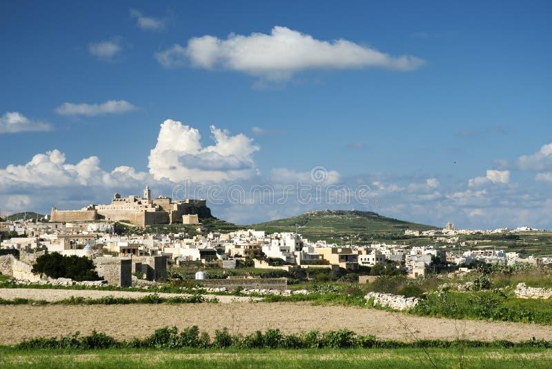 gozo海岛马耳他城镇维多利亚 库存图片