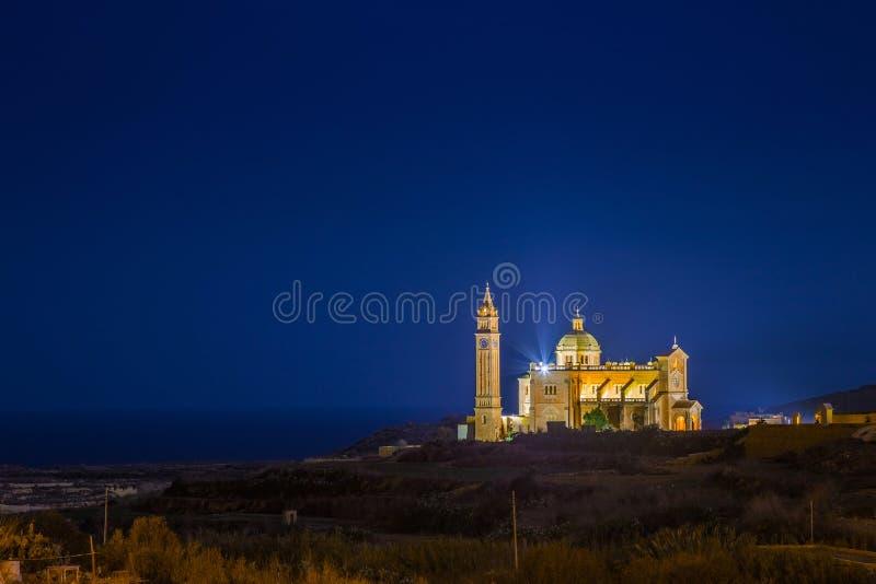 Gozo, Malta - die Basilika des Nationalheiligtums der gesegneten Jungfrau von Ta-` Pinu lizenzfreies stockbild