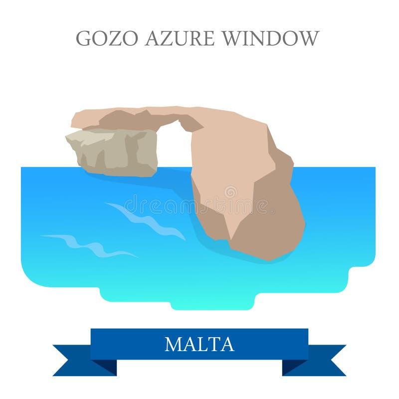Gozo Malta przyciągania widoku Lazurowy Nadokienny płaski wektorowy punkt zwrotny royalty ilustracja