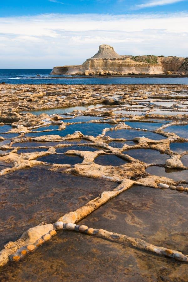 Gozo saltpans stockbild