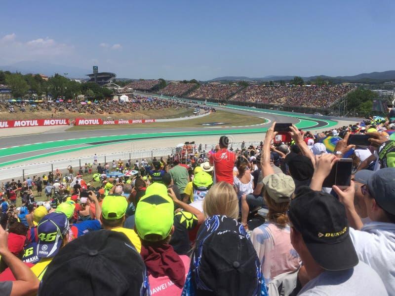 GP 2019 μοτοσικλετών Catalunya έναρξη και πλήθος φυλών Moto στοκ εικόνα με δικαίωμα ελεύθερης χρήσης