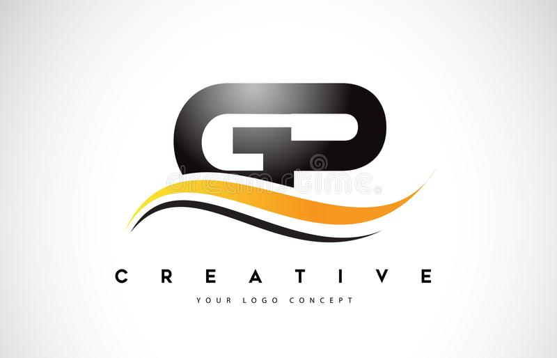 GP Brief Logo Design van G P Swoosh met Moderne Gele Swoosh-Kromme royalty-vrije illustratie