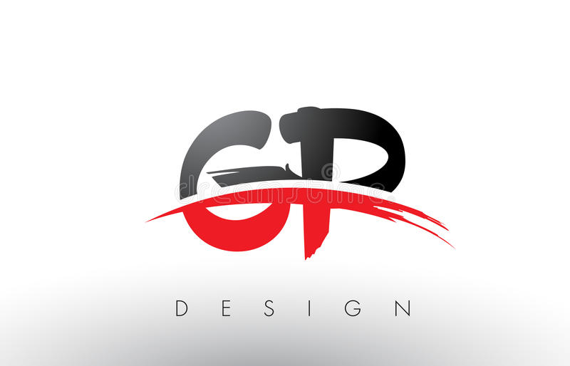 GP G P Brush Logo Letters with Red and Black Swoosh Brush Front vector illustration