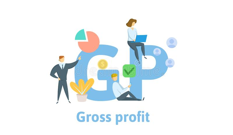 GP, Gross Profit. Concept with keywords, letters and icons. Flat vector illustration. Isolated on white background. stock illustration