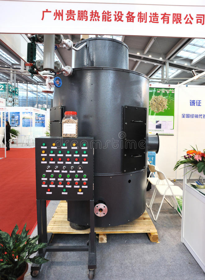 Gpboiler equipment company. Booth,which manufacture professional boiler equipment,at the 7th dresche china international solar photovoltaic(shenzhen) exhibition stock images