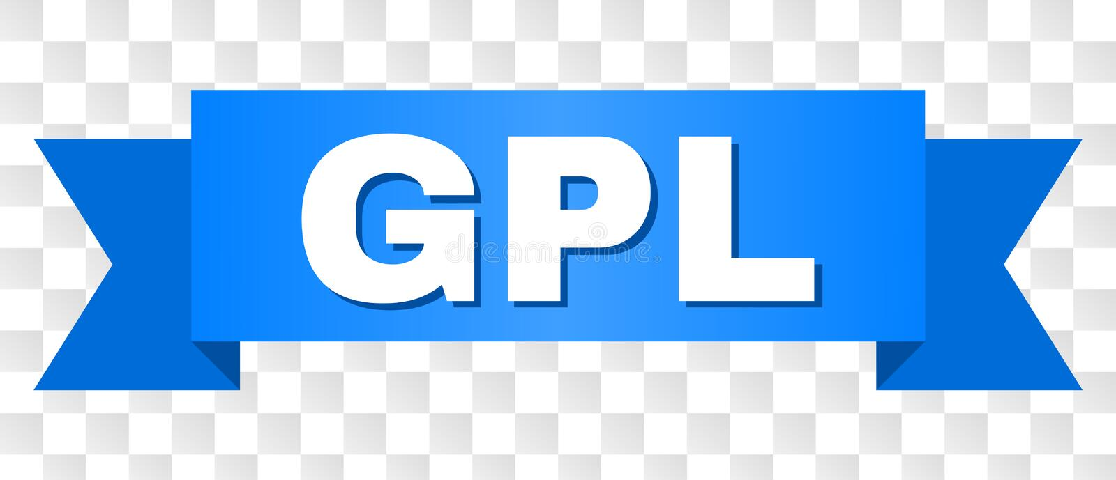 Blue Ribbon with GPL Text. GPL text on a ribbon. Designed with white caption and blue stripe. Vector banner with GPL tag on a transparent background stock illustration