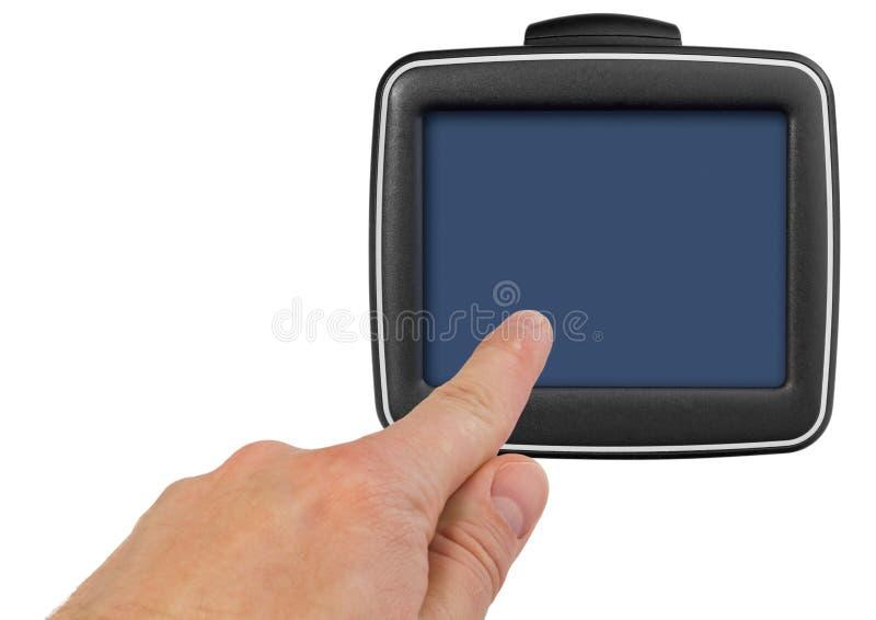 GPS与把柄的汽车航海 手指表明点o 库存图片
