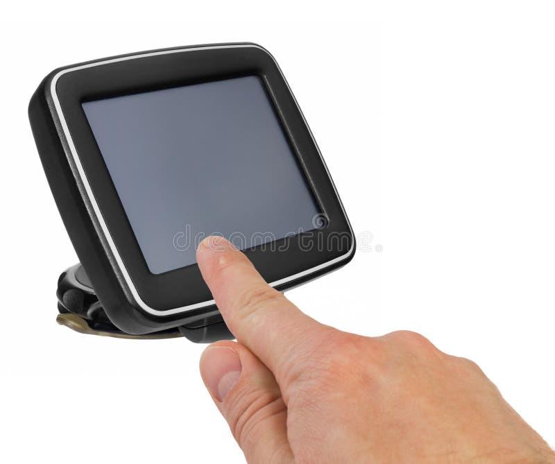 GPS与把柄的汽车航海 手指表明点o 库存照片