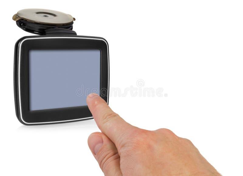 GPS与把柄的汽车航海 手指表明点o 图库摄影