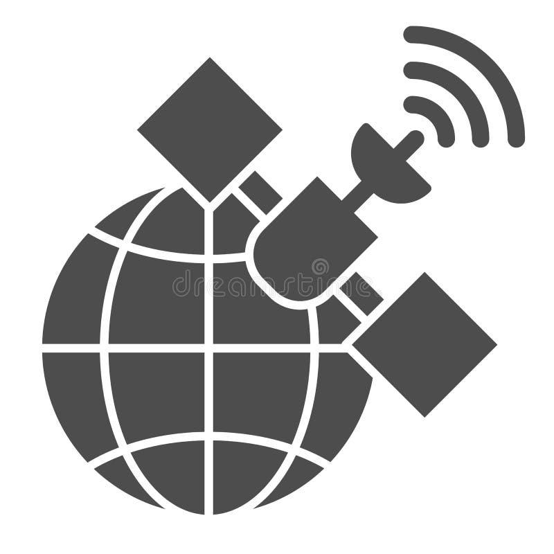 Gps卫星坚实象 在白色隔绝的全球性信号向量例证 通信纵的沟纹样式设计 库存例证