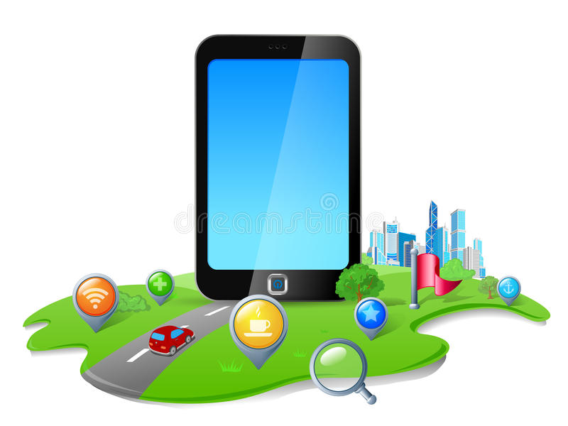 gps定位smartphone 向量例证