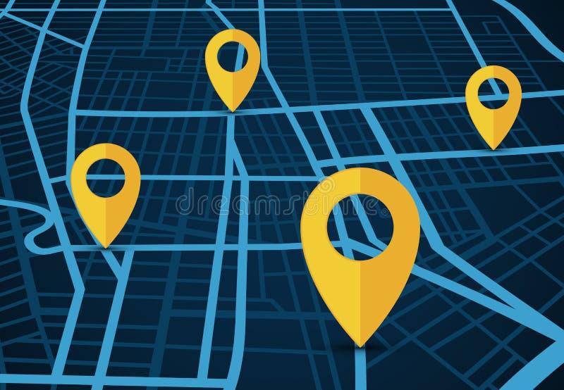 GPS航海服务传染媒介概念 3D与地点尖的地图 皇族释放例证