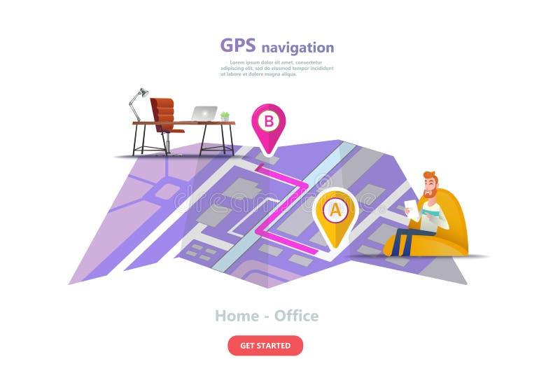 GPS航海,城市地图的点地点 向量例证