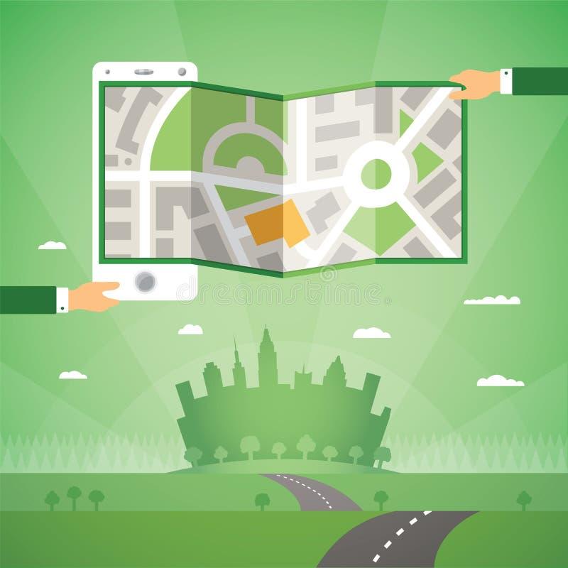 Gps-översikter och navigering app på telefonvektorbegrepp royaltyfri illustrationer