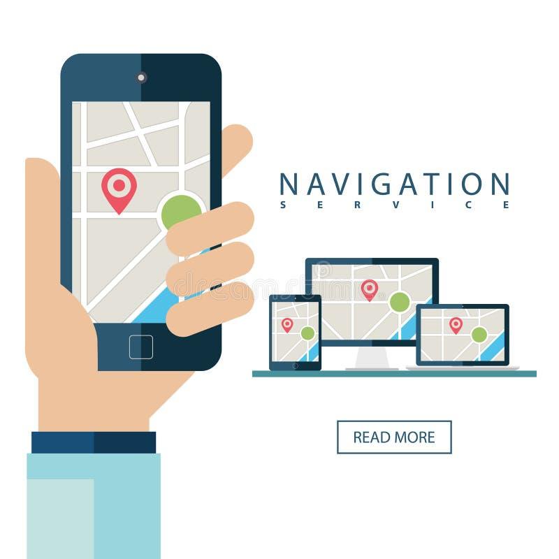 GPS обслуживает концепцию Настольный компьютер, компьтер-книжка, таблетка и рука держа мобильный телефон иллюстрация штока