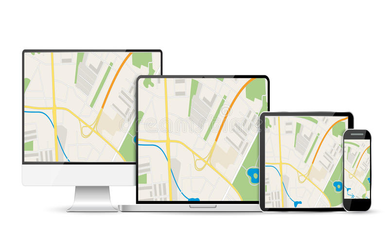 GPS Abstract generic city map with roads,. Buildings, parks, river on display of modern digital devices, desktop pc, tablet pc, smartphone, laptop. vector vector illustration