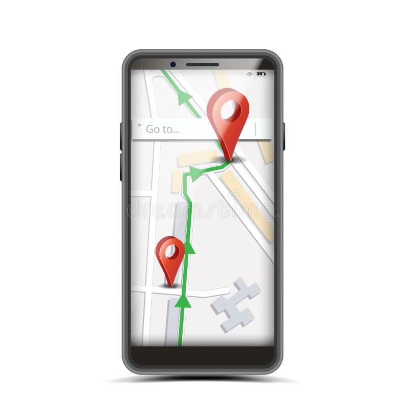 GPS App begreppsvektor Smartphone med den trådlösa navigatörMap Internet Web applikationen på skärmen isolerad knapphandillustrat royaltyfri illustrationer