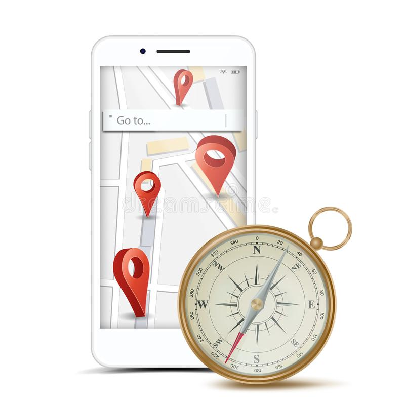 GPS App Concept Vector. Navigation, Travel, Tourism, Location Route Planning. Web Travel Or Taxi Service App Business vector illustration