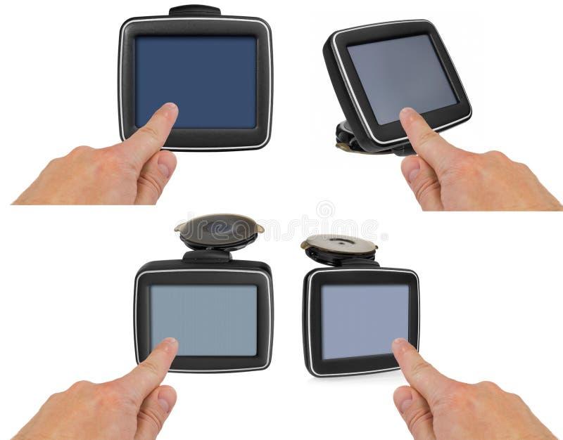GPS-autonavigatie met handvat De vinger wijst op het punt o stock afbeeldingen