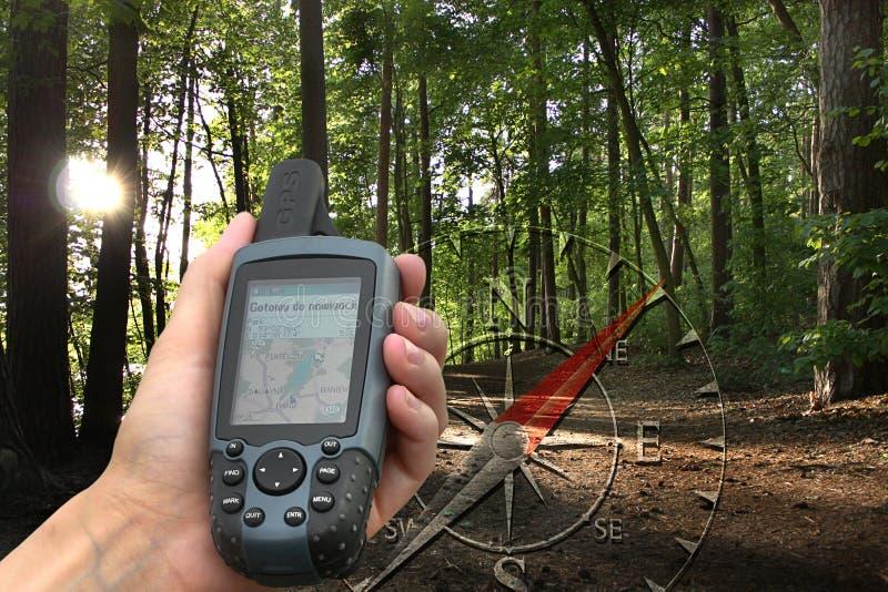 GPS avec la carte photographie stock