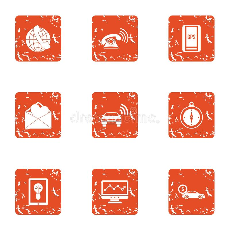 GPS call service icons set, grunge style. GPS call service icons set. Grunge set of 9 gps call service vector icons for web isolated on white background vector illustration