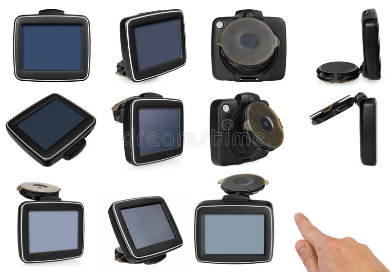 GPS car navigation with handle. The finger indicates the point o stock images