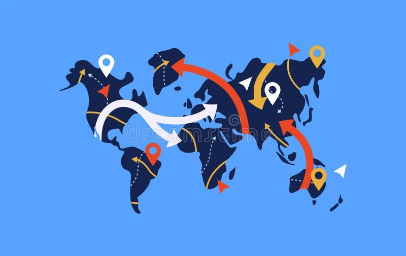 GPS-de kaartconcept van de pijlwereld voor reisnavigatie vector illustratie