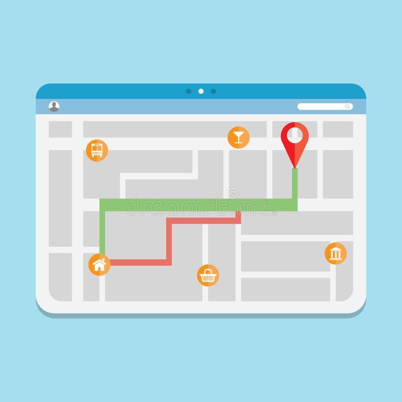 Gps de la ruta del navegador ilustración del vector