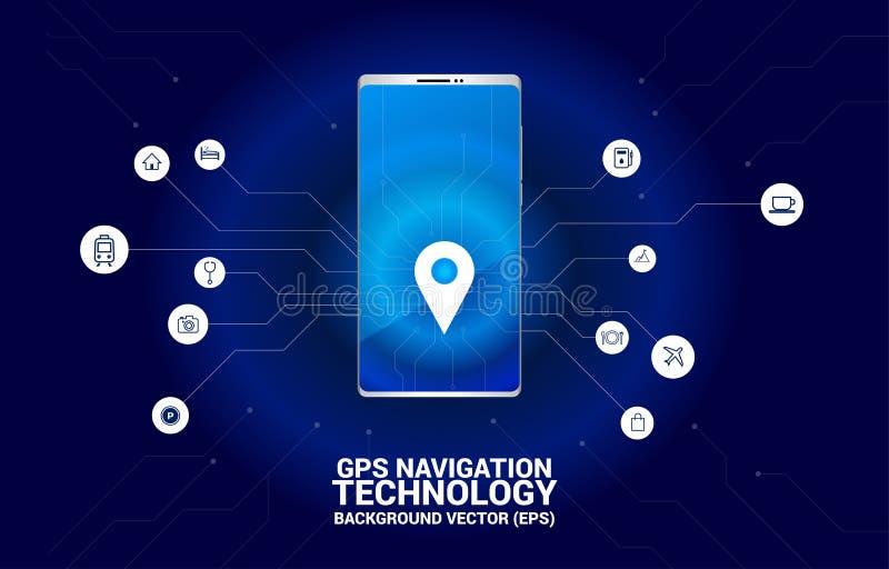 GPS-de plaats van de speldteller in mobiele telefoon met grafische kringslijn royalty-vrije illustratie