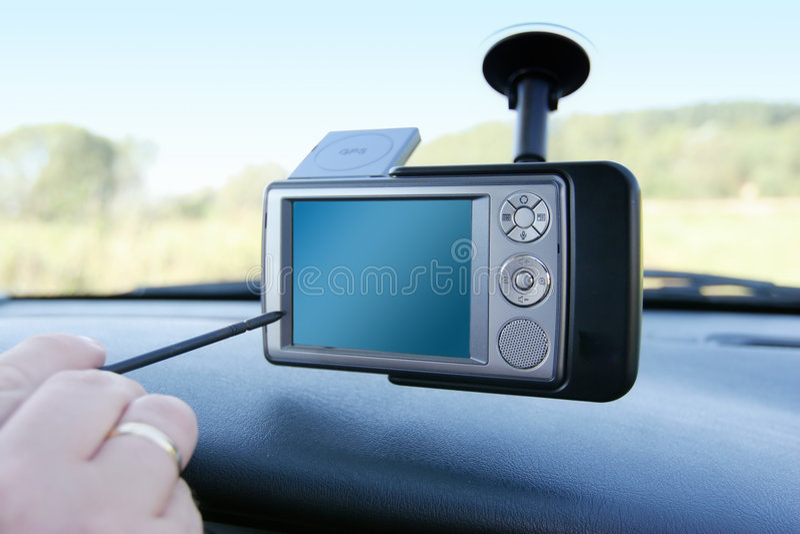 GPS - En el coche imagen de archivo