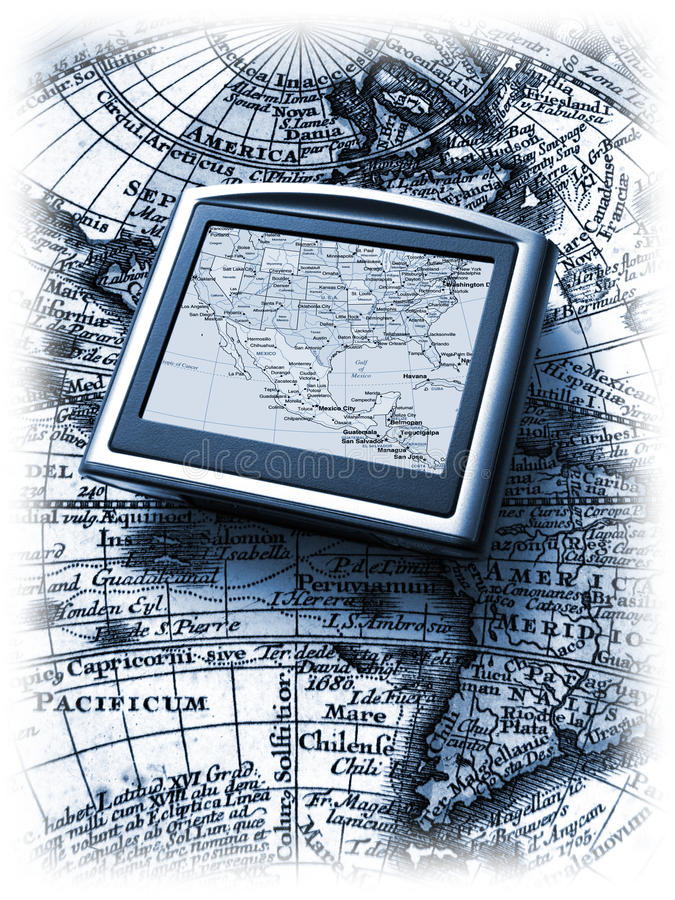 Gps en kaart stock illustratie