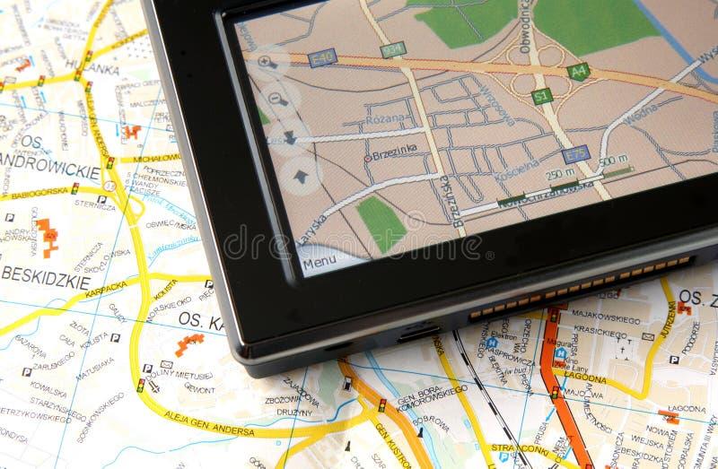 GPS en kaart royalty-vrije stock afbeeldingen