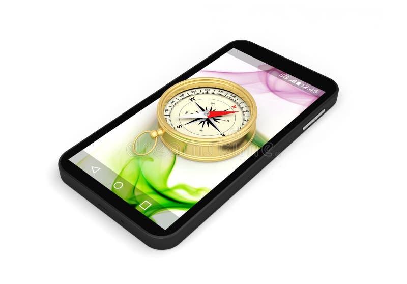 Gps för navigering för kompasssmartphoneapplikation royaltyfri illustrationer