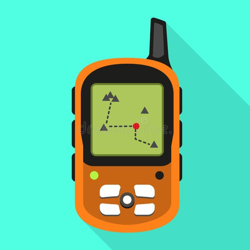 Gps het pictogram van de bergdrijver, vlakke stijl vector illustratie