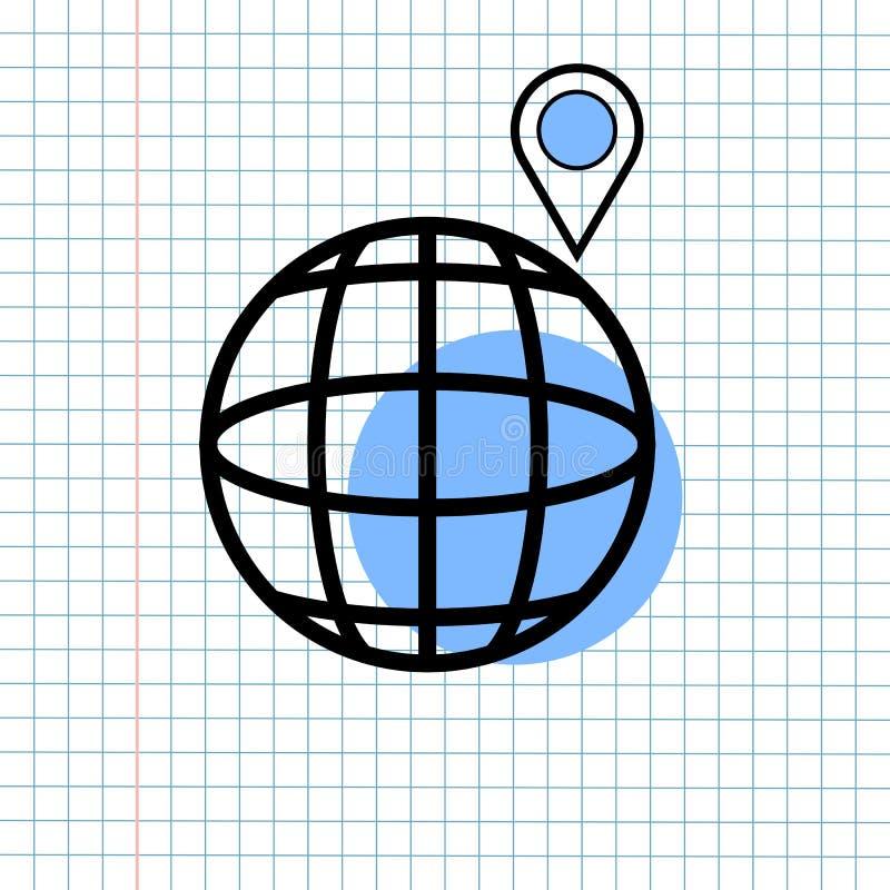 GPS-het Tekenconcept van het Navigatiepictogram, Vectorafbeeldingenontwerp van Richtingsnavigator Symbol voor Reisbestemming , Ve royalty-vrije illustratie