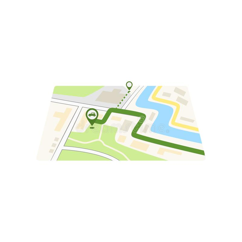 GPS icon and route map with path and car pin in city street isolated on white background. GPS icon and route map with green path and car pin in city street vector illustration