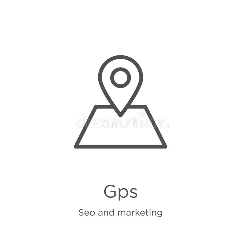 gps icon vector from seo and marketing collection. Thin line gps outline icon vector illustration. Outline, thin line gps icon for vector illustration