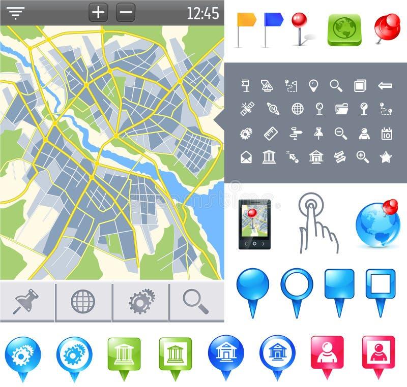 gps ikony mapa ilustracji