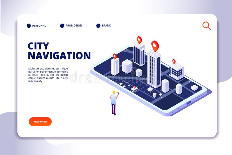 Gps isometric concept. Navigation city 3d map mobile phone, phone tracker with global positioning app. Landing vector stock illustration